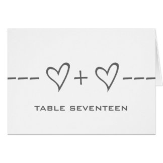 Gray Heart Equation Table Number Card