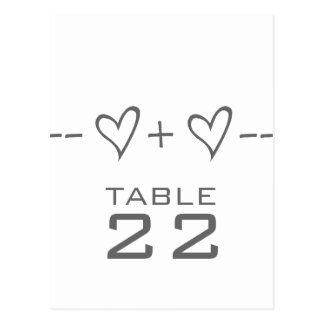 Gray Heart Equation Table Number Postcard