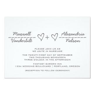 Gray Heart Equation Wedding Invite