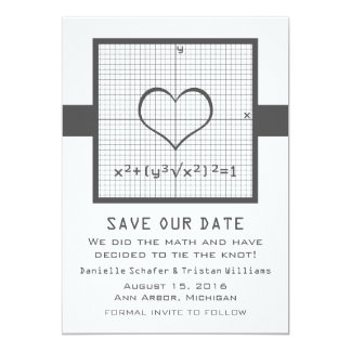 Gray Heart Math Graph Save the Date Invite