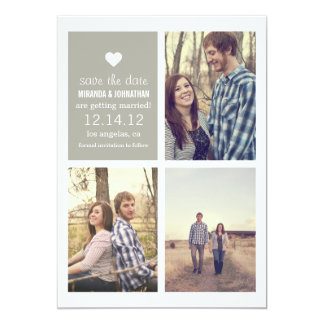 "Gray heart Save the date Photo Announcements 5"" X 7"" Invitation Card"