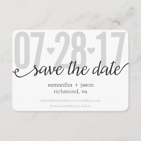 Gray Hearts and Chevron Big Numbers Save the Date