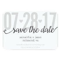 Gray Hearts and Chevron Big Numbers Save the Date Card