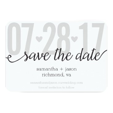 Valentines Themed Gray Hearts and Chevron Big Numbers Save the Date Card
