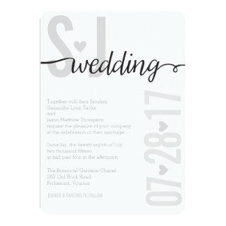 Gray Hearts & Chevron Bold Letters Wedding Invite