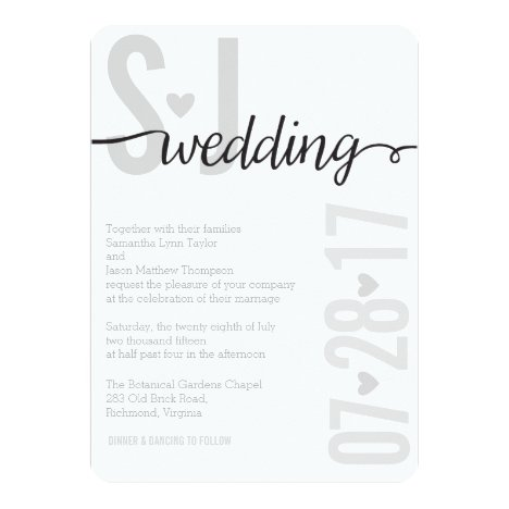 Gray Hearts & Chevron Bold Letters Wedding Invite