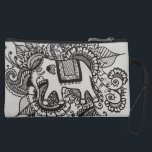 """Gray Henna Inspired Elephant Suede Wristlet<br><div class=""""desc"""">This is one of my hand drawn henna inspuired designs I did</div>"""