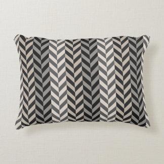 Gray Herringbone Alternating Stripes Pattern Accent Pillow