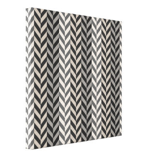 Gray Herringbone Alternating Stripes Pattern Canvas Print