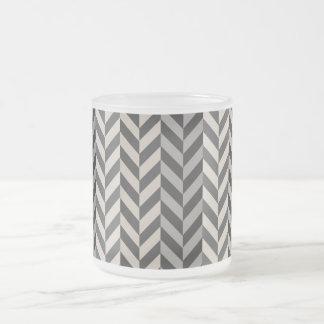 Gray Herringbone Alternating Stripes Pattern Frosted Glass Coffee Mug