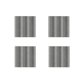 Gray Herringbone Alternating Stripes Pattern Stone Magnet