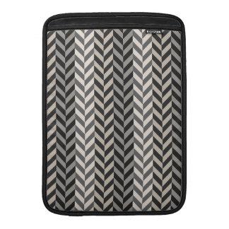 Gray Herringbone Alternating Stripes Pattern MacBook Sleeves