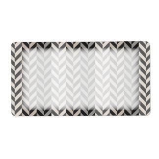 Gray Herringbone Alternating Stripes Pattern Label