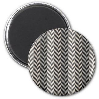 Gray Herringbone Alternating Stripes Pattern 2 Inch Round Magnet