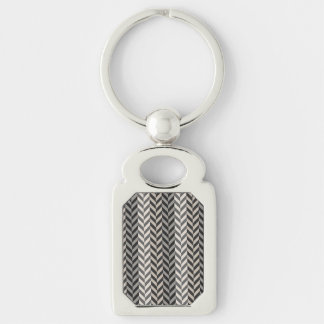 Gray Herringbone Alternating Stripes Pattern Silver-Colored Rectangular Metal Keychain