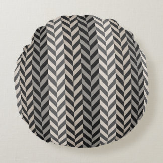 Gray Herringbone Alternating Stripes Pattern Round Pillow