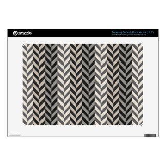 Gray Herringbone Alternating Stripes Pattern Samsung Chromebook Decals