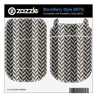 Gray Herringbone Alternating Stripes Pattern Skin For BlackBerry Style