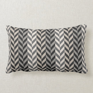 Gray Herringbone Alternating Stripes Pattern Throw Pillow