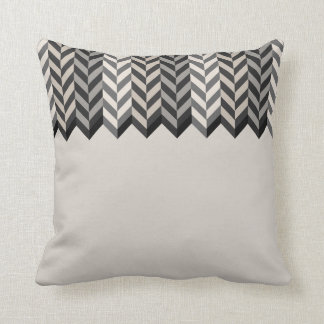 Gray Herringbone Alternating Stripes Pattern Throw Pillow