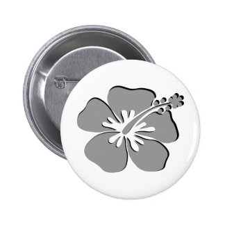 Gray hibiscus aloha flower 2 inch round button