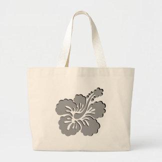 Gray hibiscus aloha flower bag