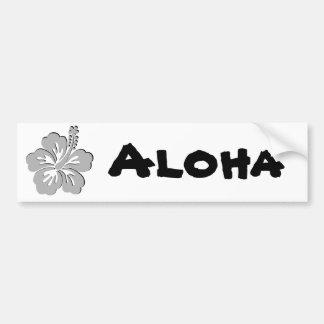 gray hibiscus aloha flower bumper sticker