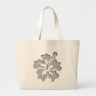 Gray hibiscus aloha flower canvas bag