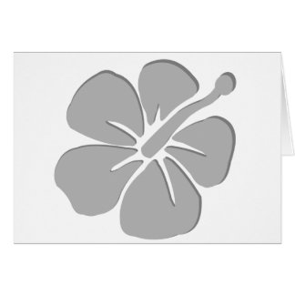 Gray hibiscus aloha flower card