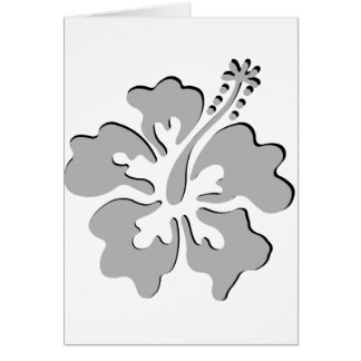 Gray hibiscus aloha flower greeting card