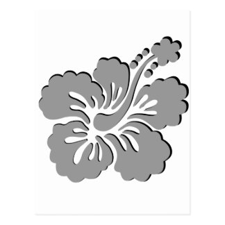 Gray hibiscus aloha flower post card