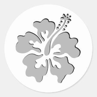 Gray hibiscus aloha flower round sticker