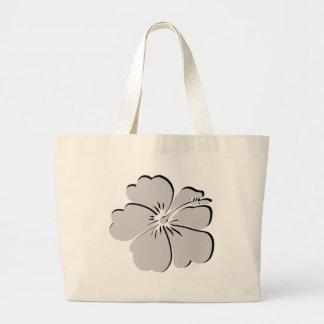 gray hibiscus aloha flower tote bags