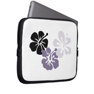 Gray Hibiscus Electronics Bag