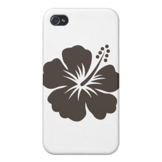 Gray hibiscus flower iPhone 4 covers