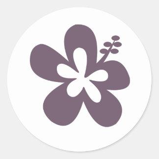 Gray Hibiscus Flower Round Stickers
