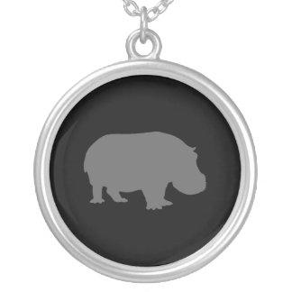 Gray Hippo Silhouette Custom Necklace