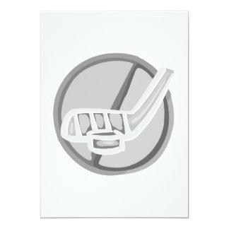 Gray Hockey stick & Puck 5x7 Paper Invitation Card