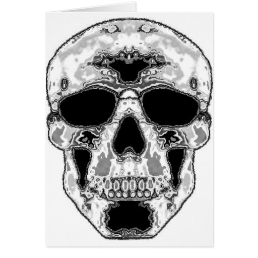 Gray Hollow Skull with Sunglasses Eyes Greeting Cards