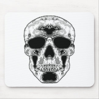 Gray Hollow Skull with Sunglasses Eyes Mouse Pad