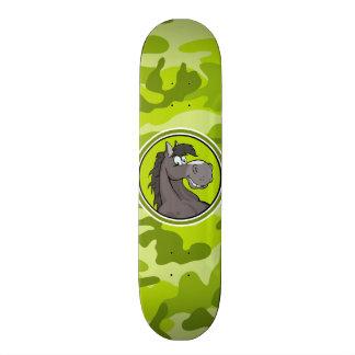 Gray Horse; bright green camo, camouflage Skateboard Decks