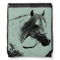 Gray Horse Head Drawstring Backpack