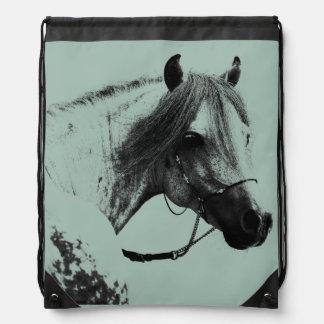Gray Horse Head Drawstring Backpack