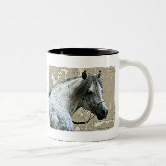 Gray Horse Head Two-Tone Coffee Mug