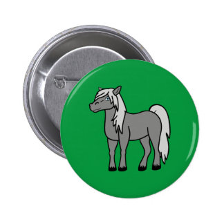 Gray Horse Pinback Button
