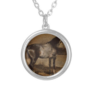 Gray horse rack by Theodore Gericault Round Pendant Necklace