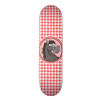 Gray Horse; Red and White Gingham Skate Deck