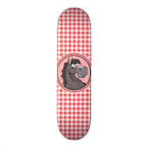 Gray Horse; Red and White Gingham Skateboard Deck