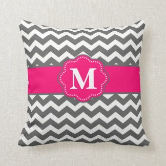 Gray Hot Pink Chevron Monogram Pillow