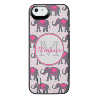 Gray Hot Pink Elephants on pink polka dots, name iPhone SE/5/5s Battery Case